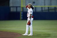 Kannapolis Cannon Ballers second baseman Lency Delgado (5) on defense against the Carolina Mudcats at Atrium Health Ballpark on June 9, 2021 in Kannapolis, North Carolina. (Brian Westerholt/Four Seam Images)