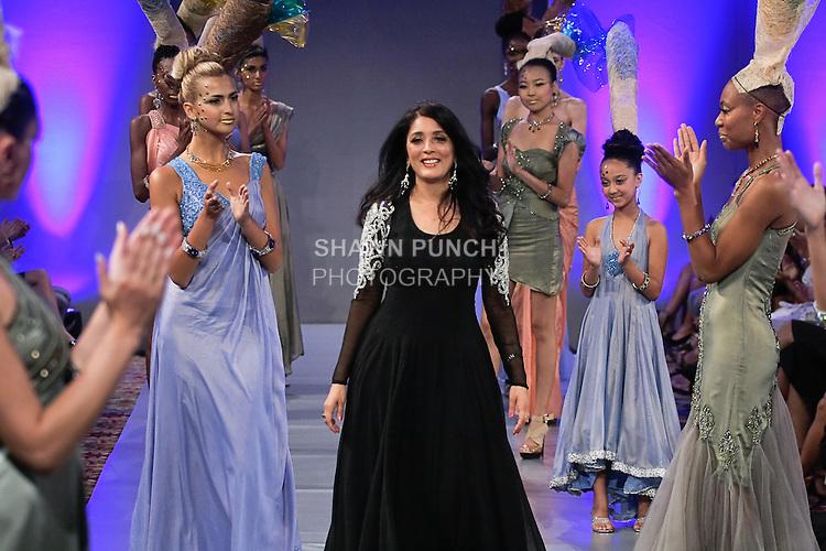 Fashion designer Sushma Patel, walks the runway at the close of her Sushma Patel Spring 2012 fashion show, during Couture Fashion Week Spring 2012.