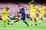 Lionel Andres Messi of FC Barcelona (C) fights for the ball with Mauricio Lemos of UD Las Palmas (R) , and Ximo Navarro Jimenez of UD Las Palmas (L) during the La Liga 2017-18 match between FC Barcelona and Las Palmas at Camp Nou on 01 October 2017 in Barcelona, Spain. (Photo by Vicens Gimenez / Power Sport Images