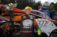May 11, 2013; Commerce, GA, USA: NHRA funny car driver Johnny Gray celebrates after winning the Southern Nationals at Atlanta Dragway. Mandatory Credit: Mark J. Rebilas-