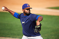 Midland RockHounds pitcher Raul Alcantara (56) throws in the bullpen before a game against the San Antonio Missions on April 22, 2016 at Nelson W. Wolff Municipal Stadium in San Antonio, Texas.  San Antonio defeated Midland 8-4.  (Mike Janes/Four Seam Images)