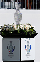 6th September 2021: Toledo, Ohio, USA;  The Solheim Cup on display at the first tee during the Solheim Cup on September 6, 2021 at Inverness Club in Toledo, Ohio.