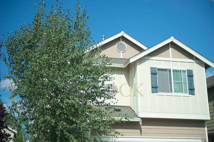 Second Story of Tan Home with Tree