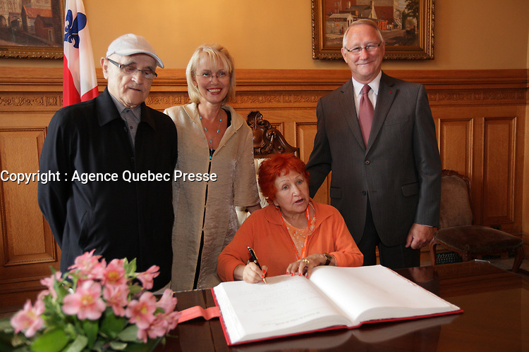 August 27 2012 - Montreal (Qc) CANADA - <br /> The jury of the 2012 World Film Festival at  Montreal City hall.<br /> Serge Losique,Helen Foutopoulos<br /> and Gerald Tremblay, Mayor of Montreal stand behind  Vera Belmont.<br /> <br /> The World Films Festival 35th edition run til September 2012.<br /> <br /> <br />  File Photo Agence Quebec Presse - Pierre Roussel