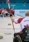 Sochi, RUSSIA - Mar 10 2014 -  Ina Forrest takes a shot during Canada vs USA in Wheelchair Curling round robin play at the 2014 Paralympic Winter Games in Sochi, Russia.  (Photo: Matthew Murnaghan/Canadian Paralympic Committee)