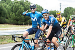 Jose Joaquin Rojas (ESP) Movistar Team and Carlos Barbero Cuesta (ESP) NTT Pro Cycling catch up during Stage 18 of the Vuelta Espana 2020, running 139.6km from Hipódromo de La Zarzuela to Madrid, Spain. 8th November 2020.  <br /> Picture: Unipublic/Charly Lopez | Cyclefile<br /> <br /> All photos usage must carry mandatory copyright credit (© Cyclefile | Unipublic/Charly Lopez)