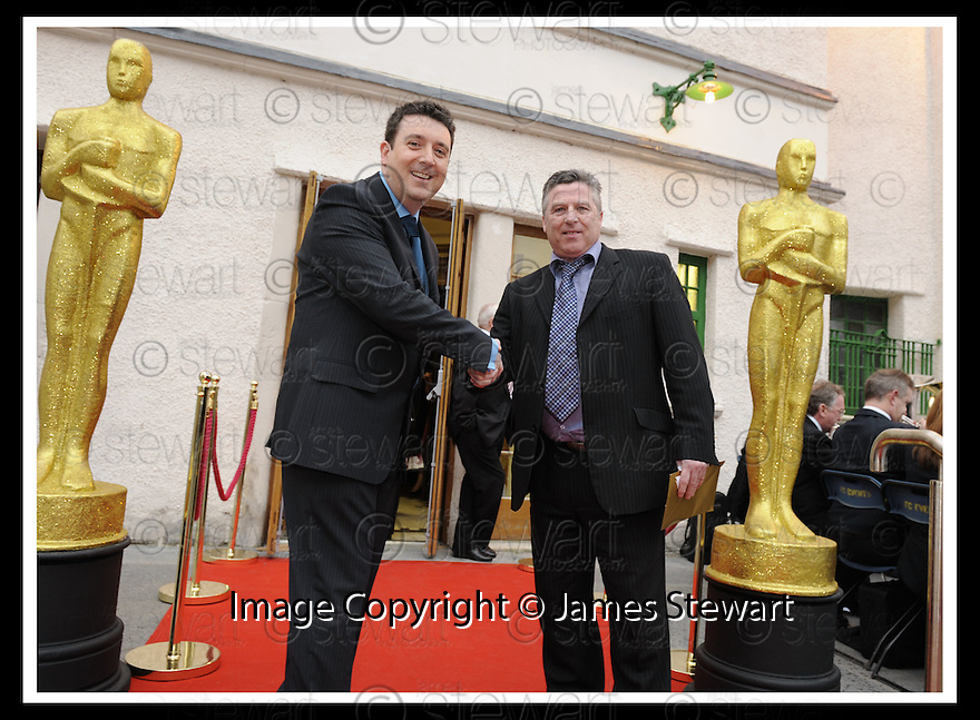07/04/2009  Copyright Pic: James Stewart.File Name : 16_hippodrome_opening.COUNCILLOR ADRIAN MAHONEY WELCOMES FORMER PROJECTIONIST, WILLIAM MORRS, AS HE ARRIVES AT THE FIRST NIGHT OFFICIAL RE-OPENING OF THE HIPPODROME IN BO'NESS.....James Stewart Photography 19 Carronlea Drive, Falkirk. FK2 8DN      Vat Reg No. 607 6932 25.Telephone      : +44 (0)1324 570291 .Mobile              : +44 (0)7721 416997.E-mail  :  jim@jspa.co.uk.If you require further information then contact Jim Stewart on any of the numbers above.........