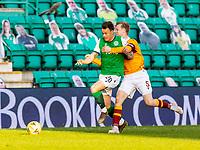 24th April 2021; Easter Road, Edinburgh, Scotland; Scottish Cup fourth round, Hibernian versus Motherwell; Nathan McGinley of Motherwell fouls Melker Hallberg of Hibernian