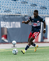 FOXBOROUGH, MA - JULY 25: USL League One (United Soccer League) match. Mayele Malango #10 of New England Revolution II dribbles down the wing during a game between Union Omaha and New England Revolution II at Gillette Stadium on July 25, 2020 in Foxborough, Massachusetts.