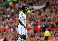 Pictured: Wilfried Bony of Swansea United. Saturday 16 August 2014<br /> Re: Premier League Manchester United v Swansea City FC at the Old Trafford, Manchester, UK.