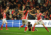 20131009 - LIEGE , BELGIUM : Standard's Tessa Wullaert (right) pictured celebrating the 1-0 scored by Vanity Lewerissa (middle) during the female soccer match between STANDARD Femina de Liege and GLASGOW City LFC , in the 1/16 final ( round of 32 ) first leg in the UEFA Women's Champions League 2013 in stade Maurice Dufrasne - Sclessin in Liege. Wednesday 9 October 2013. PHOTO DAVID CATRY