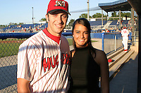 August 19, 2003:  pitcher Victor Menocal of the Batavia Muckdogs with the singer of the national anthem before a game at Dwyer Stadium in Batavia, New York.  Photo by:  Mike Janes/Four Seam Images