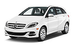 2017 Mercedes Benz B-Class Electric-Drive 5 Door Mini MPV Angular Front stock photos of front three quarter view