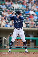 Columbus Clippers left fielder Richie Shaffer (8) at bat during a game against the Gwinnett Stripers on May 17, 2018 at Huntington Park in Columbus, Ohio.  Gwinnett defeated Columbus 6-0.  (Mike Janes/Four Seam Images)
