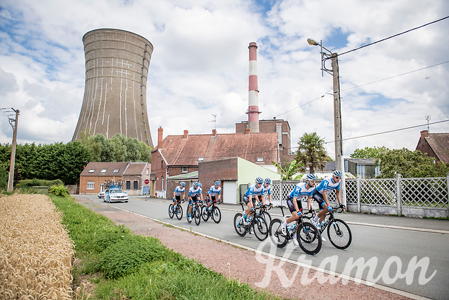 reconnaissance of the (delayed, due to the Covid19 pandemic) Paris-Roubaix course by Team Israel - StartUp Nation through the grim North of France (région Nord-Pas-de-Calais)<br /> <br /> Nord-Pas de Calais region (FRA), 17 july 2020<br /> ©kramon