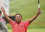 Tongchai Jaidee celebrates after sinking his putt to win the ISPS Handa Wales Open 2012..03.06.12.©Steve Pope