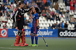 GER - Mannheim, Germany, October 09: During the men hockey match between Mannheimer HC (blue) and TSV Mannheim (red) on October 9, 2016 at Mannheimer HC in Mannheim, Germany. Final score 4-3 (HT 1-1). (Photo by Dirk Markgraf / www.265-images.com) *** Local caption *** Andreas Spaeck #1 of Mannheimer HC, Danny Nguyen #22 of Mannheimer HC