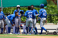 Toronto Blue Jays Justin Ammons (29) celebrates with teammates after hitting a home run during an Extended Spring Training game against the Philadelphia Phillies on June 12, 2021 at the Carpenter Complex in Clearwater, Florida. (Mike Janes/Four Seam Images)