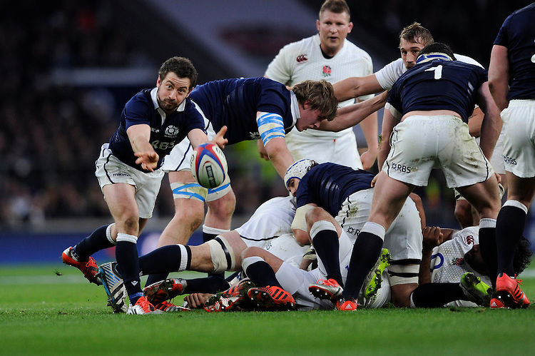 Greig Laidlaw of Scotland passes from a set scrum