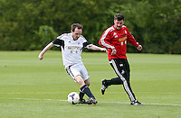 Pictured: Michael Eames. Tuesday 06 May 2014<br /> Re: Members of the local press play football against Swansea City FC coaches and members of staff at the Club's training ground in Fairwood, south Wales.