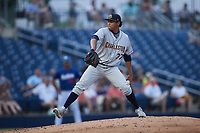 Charleston RiverDogs relief pitcher Luis Moncada (37) in action against the Kannapolis Cannon Ballers at Atrium Health Ballpark on July 1, 2021 in Kannapolis, North Carolina. (Brian Westerholt/Four Seam Images)
