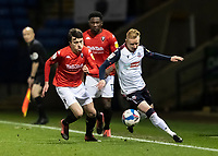 Bolton Wanderers' Ali Crawford (right) competing with Salford City's Luke Burgess<br /> <br /> Photographer Andrew Kearns/CameraSport<br /> <br /> The EFL Sky Bet League Two - Bolton Wanderers v Salford City - Friday 13th November 2020 - University of Bolton Stadium - Bolton<br /> <br /> World Copyright © 2020 CameraSport. All rights reserved. 43 Linden Ave. Countesthorpe. Leicester. England. LE8 5PG - Tel: +44 (0) 116 277 4147 - admin@camerasport.com - www.camerasport.com