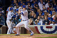 Chicago Cubs Kris Bryant (17) bats in the sixth inning during Game 3 of the Major League Baseball World Series against the Cleveland Indians on October 28, 2016 at Wrigley Field in Chicago, Illinois.  (Mike Janes/Four Seam Images)
