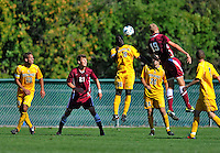 18 September 2011: University of Vermont Catamount Defender Yannick Lewis, a Senior from Toronto, Ontario, in action against the Harvard University Crimson at Centennial Field in Burlington, Vermont. The Catamounts shut out the visiting Crimson 1-0, earning their 3rd straight victory of the 2011 season. Mandatory Credit: Ed Wolfstein Photo