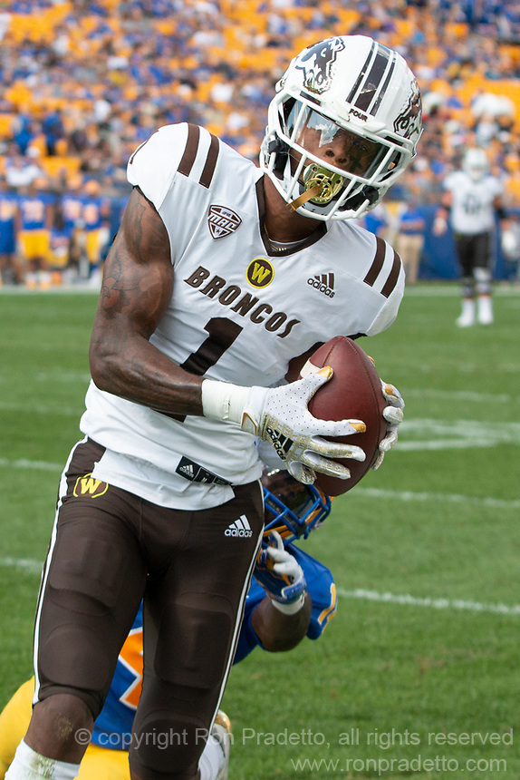 WMU wide receiver Jaylen Hall makes a 38-yard catch. The Western Michigan University Broncos defeated the Pitt Panthers 44-41 at Heinz Field, Pittsburgh, Pennsylvania on September 18, 2021.