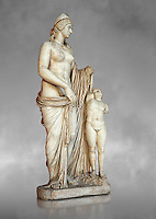 2nd century Roman statue of Venus known as the Venere Felice, inspired by the Hellenistic stsue of Aphrodite of Cnidus made by Greek sculptor Praixiteles in the 4th century BC. Possibly a Venus's face is a portrait of Sallustia who dedicated the statue with Helpidus, and the Eros may be a portrait of her young son. inv 129, Vatican Museum Rome, Italy,  grey art background