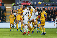 The ball goes into the Wigan Athletic nets with an own goal by Dan Burn during the Sky Bet Championship match between Swansea City and Wigan Athletic at the Liberty Stadium, Swansea, Wales, UK. Saturday 29 December 2018