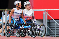 29th August 2021; Tokyo, Japan; <br /> Kare Adenegan, Hannah Cockroft (GBR), Athletics : <br /> Women's 100m T34 Final during the Tokyo 2020 Paralympic Games <br /> at the National Stadium in Tokyo, Japan.
