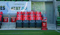 AUSTIN, TX - JUNE 16: BioSteel, AT&T sponsors before a game between Nigeria and USWNT at Q2 Stadium on June 16, 2021 in Austin, Texas.