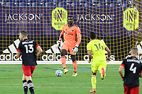 NASHVILLE, TN - SEPTEMBER 23: Bill Hamid #24 of DC United stands over the ball during a game between D.C. United and Nashville SC at Nissan Stadium on September 23, 2020 in Nashville, Tennessee.