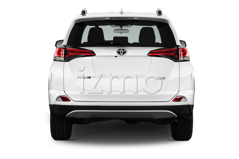 Straight rear view of 2018 Toyota RAV4 XLE 5 Door SUV Rear View  stock images