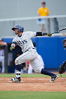 Ronaldo Hernandez (24) of the Princeton Rays follows through on his swing against the Danville Braves at American Legion Post 325 Field on June 25, 2017 in Danville, Virginia.  The Braves walked-off the Rays 7-6 in 11 innings.  (Brian Westerholt/Four Seam Images)