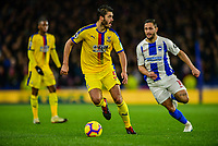 James Tomkins of Crystal Palace (5) and Florin Andone of Brighton & Hove Albion (10) challenge for the ball ,during the Premier League match between Brighton and Hove Albion and Crystal Palace at the American Express Community Stadium, Brighton and Hove, England on 4 December 2018. Photo by Edward Thomas / PRiME Media Images.