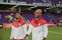Orlando, FL - Friday Oct. 06, 2017: Michael Orozco, Juan Agudelo during a 2018 FIFA World Cup Qualifier between the men's national teams of the United States (USA) and Panama (PAN) at Orlando City Stadium.