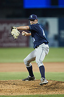 Wilmington Blue Rocks relief pitcher Reid Schaller (45) in action against the Greensboro Grasshoppers at First National Bank Field on May 25, 2021 in Greensboro, North Carolina. (Brian Westerholt/Four Seam Images)