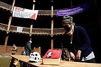 A book of all the literary works of Shakespeare and a skull lying on a table during the occupation of the Globe Theatre. A group of workers in the entertainment field (actors, singers, ecc.) occupied this morning the Globe Theatre Silvano Toti, a beautiful theatre set inside Villa Borghese, after more than a year stop for the live entertainment, to ask for more security and certainty on their work. <br /> Rome (Italy), April 14th 2021<br /> Photo Samantha Zucchi Insidefoto