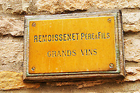 The brass plate on the entrance door of the burgundy negociant and wine producer Remoissenet Pere et Fils Grands Vins, Maison Remoissenet, Beaune Côte Cote d Or Bourgogne Burgundy Burgundian France French Europe European
