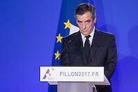 CONFERENCE DE PRESSE DE FRANCOIS FILLON A SON QG DE CAMPAGNE, LE 6 FEVRIER 2017 A PARIS.