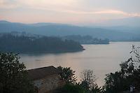 Africa, DRC, Democratic Republic of the Congo. Women for Women project. View of Lake Kivu from Hotel Elilia.