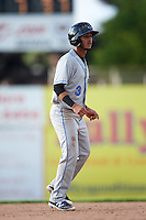 Hudson Valley Renegades shortstop Bill Pujols (3) leads off second base during a game against the Batavia Muckdogs on July 31, 2016 at Dwyer Stadium in Batavia, New York.  Hudson Valley defeated Batavia 4-1.  (Mike Janes/Four Seam Images)