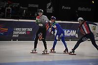 SPEEDSKATING: DORDRECHT: 06-03-2021, ISU World Short Track Speedskating Championships, QF 500m Men, Pietro Sighel (ITA), Shaoang Liu (HUN), Sebastien Lepape (FRA), ©photo Martin de Jong