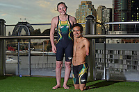 Sporting Speedo outfit : Madison Elliott and Ahmed Kelly / Para-swimming athletes<br /> 2016 APC RIO Uniform Launch with the city of Sydney as the backdrop shot from the Star Casino<br /> Australian Paralympic Committee<br /> Star Casino / Sydney / NSW<br /> Monday 6 June 2016<br /> © Sport the library / Jeff Crow