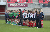 Tuesday 3rd April 2018 | Malone Women vs Ballynahinch Women<br /> <br /> A minutes silence before the Easter Tuesday Ulster Womens final between Malone and Ballynahinch at Kingspan Stadium, Ravenhill Park, Belfast, Northern Ireland. Photo by John Dickson / DICKSONDIGITAL