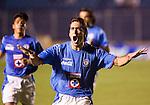Cruz Azul forward Cesar Delgado celebrates his goal scored against Laguna Santos during their soccer match at the Blue Stadium in Mexico City, March 15, 2006. Cruz Azul won 4-1 to Laguna Santos. © Photo by Javier Rodriguez/