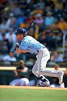 Tampa Bay Rays second baseman Nick Franklin (2) follows through on a swing during a Spring Training game against the Pittsburgh Pirates on March 10, 2017 at LECOM Park in Bradenton, Florida.  Pittsburgh defeated New York 4-1.  (Mike Janes/Four Seam Images)
