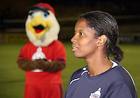Briana Scurry #1 of the Washington Freedom retirement ceremony during a WPS match against the Atlanta Beat at Maryland Soccerplex on September 11 2010, in Boyds, Maryland. Freedom won 1-0.